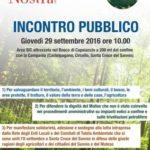 Incontro Pubblico giovedì 29 settembre ore 10.00 – Area SIC attrezzata nel Bosco di Capoiaccio a Cercemaggiore