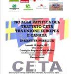 No alla ratifica del Trattato Ceta tra Unione Europea e Canada