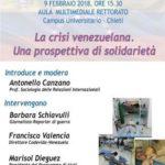 """Emergenza Venezuela. Iniziativa all'Università di CHIETI. """"La crisi venezuelana. Una prospettiva di solidarietà"""""""