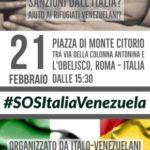 Emergenza Umanitaria in Venezuela. Adesione alla manifestazione #SOSItaliaVenezuela