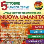 Lamezia Terme (CZ) 5 ottobre 2019 – APPELLO ALL'UNITA' PER COSTRUIRE UNA NUOVA UMANITA'
