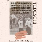 Buenos Aires 5 marzo 2020. Iniziativa in memoria di Giuseppe Tedeschi
